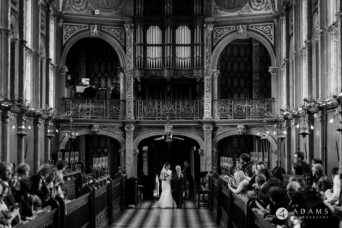 Royal Holloway wedding bride walking down the aisle with her father