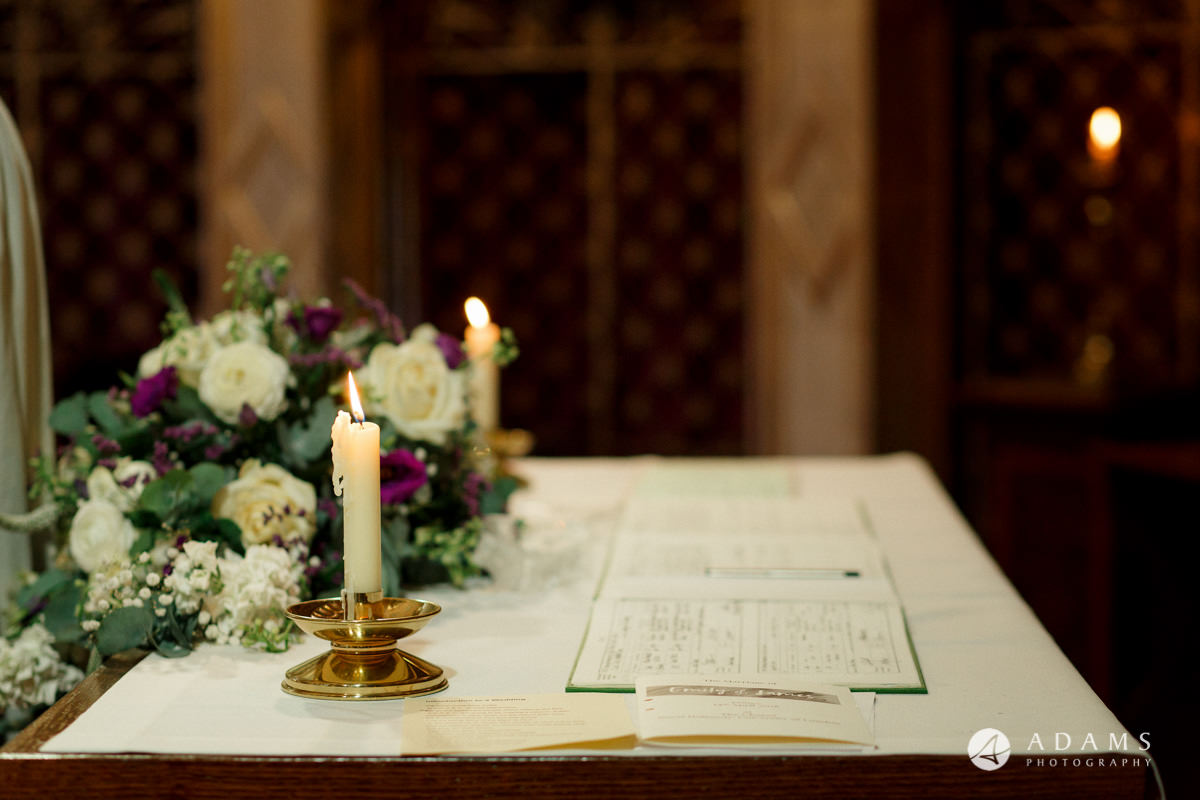 Royal Holloway wedding registry on the table