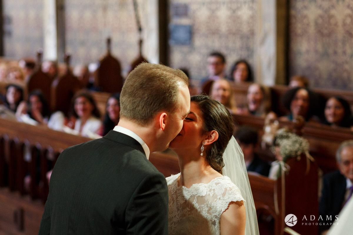 royal holloway wedding first kiss close up