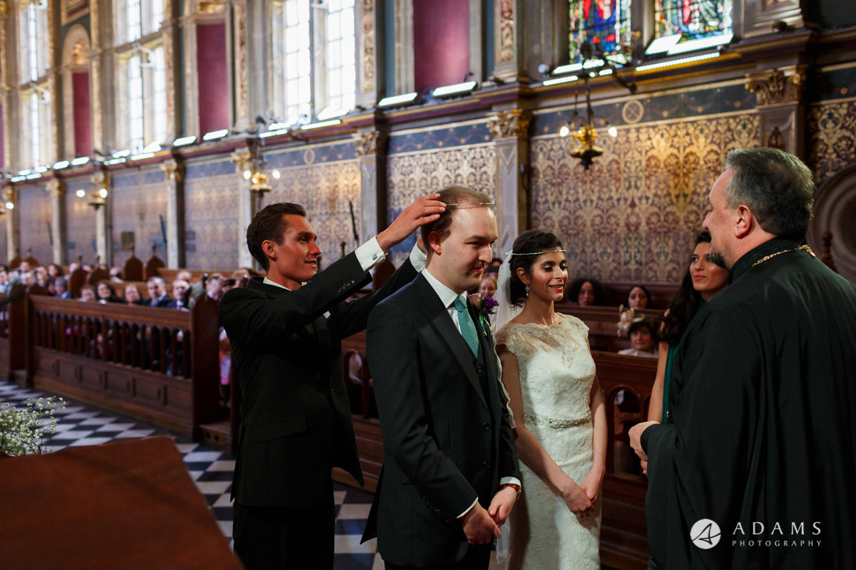 royal holloway wedding best-man holds the crowns