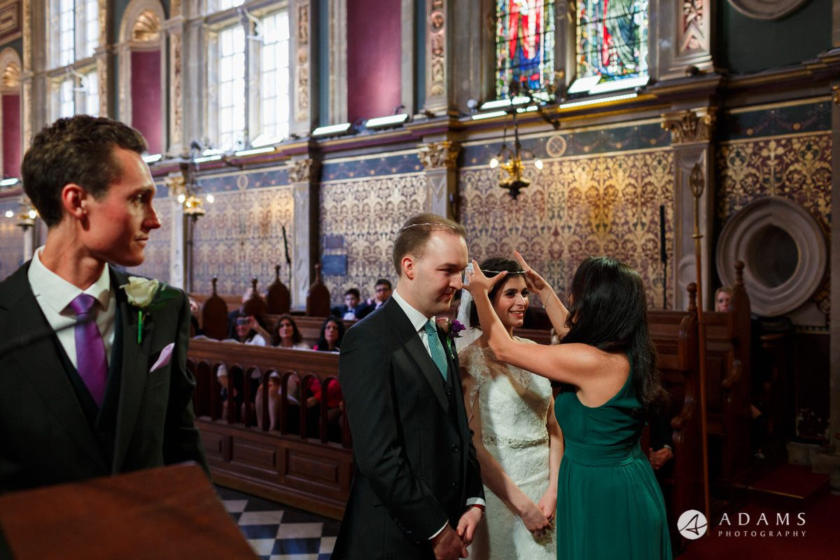 royal holloway wedding bridesmaid swaps the crowns