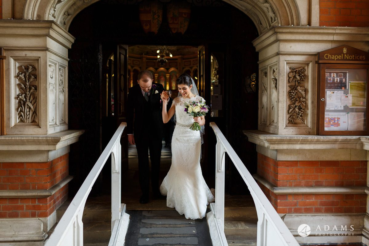 royal holloway wedding bride and groom outside the chapel together