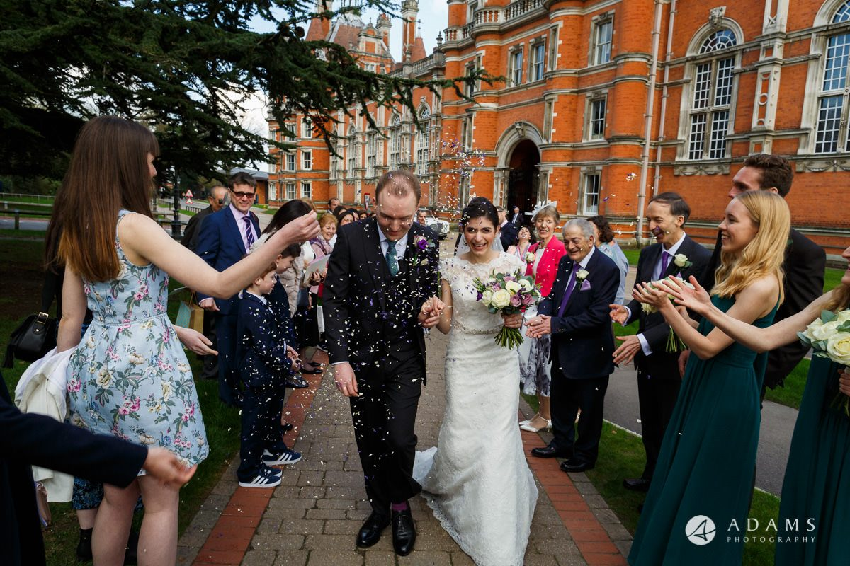 Royal Holloway wedding confetti shot