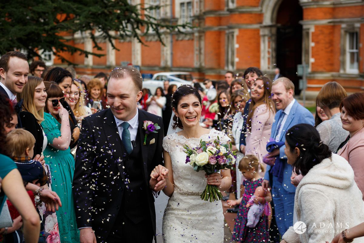 royal holloway wedding photographer confetti shot