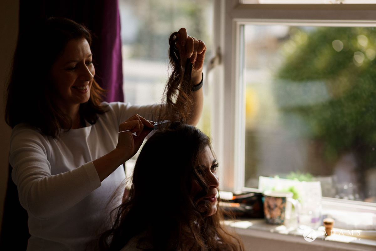Royal Holloway Wedding bridal hair preparation
