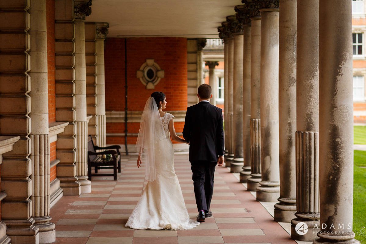 royal holloway wedding married couple walk away