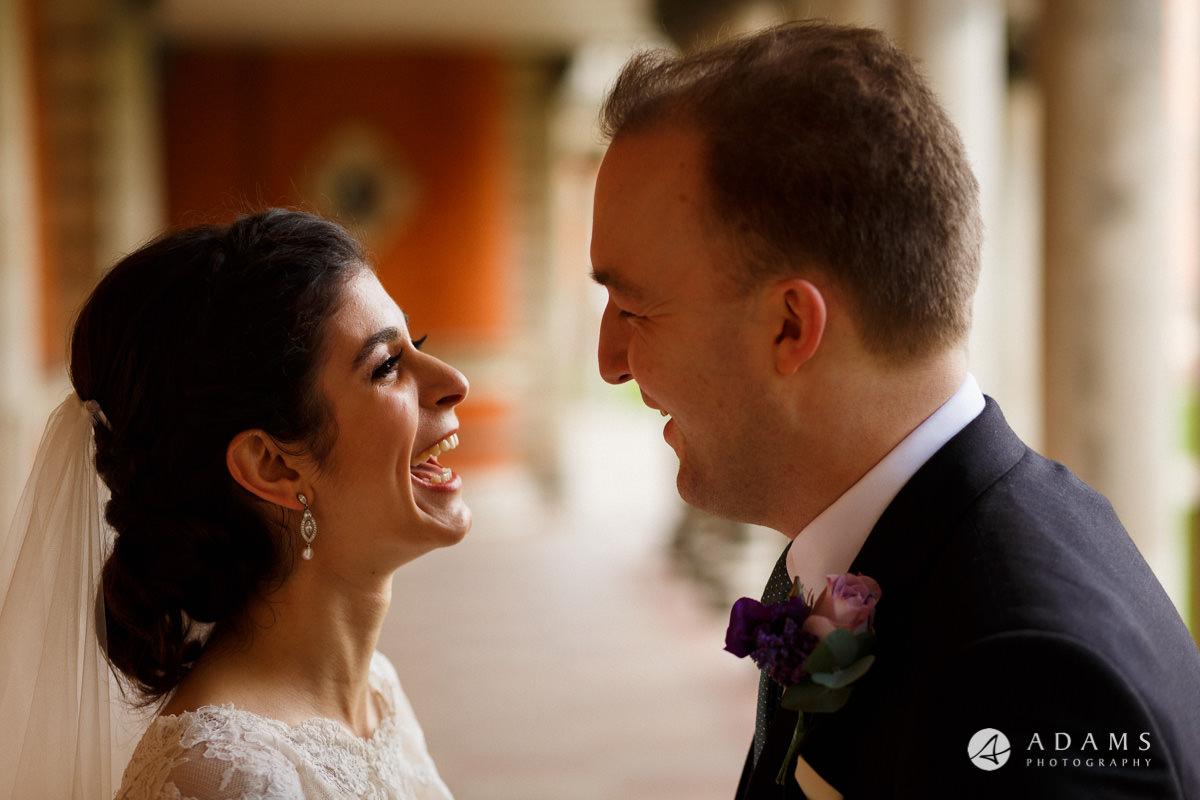 royal holloway wedding bride laughing