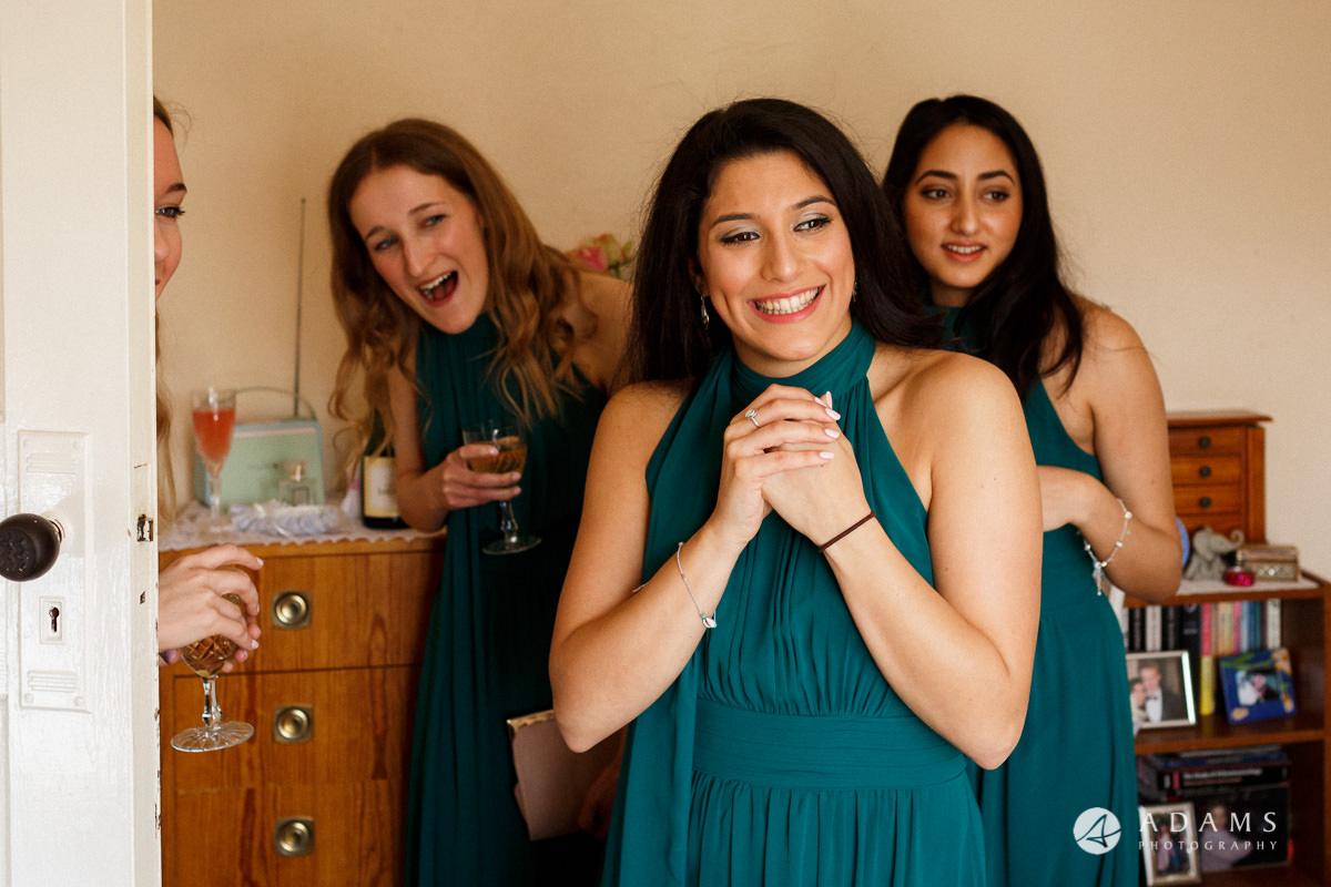 Royal Holloway Wedding bridesmaids laughing