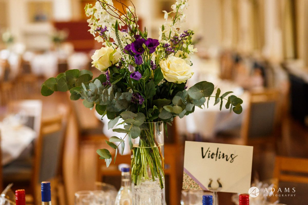royal holloway wedding table decoration flowers