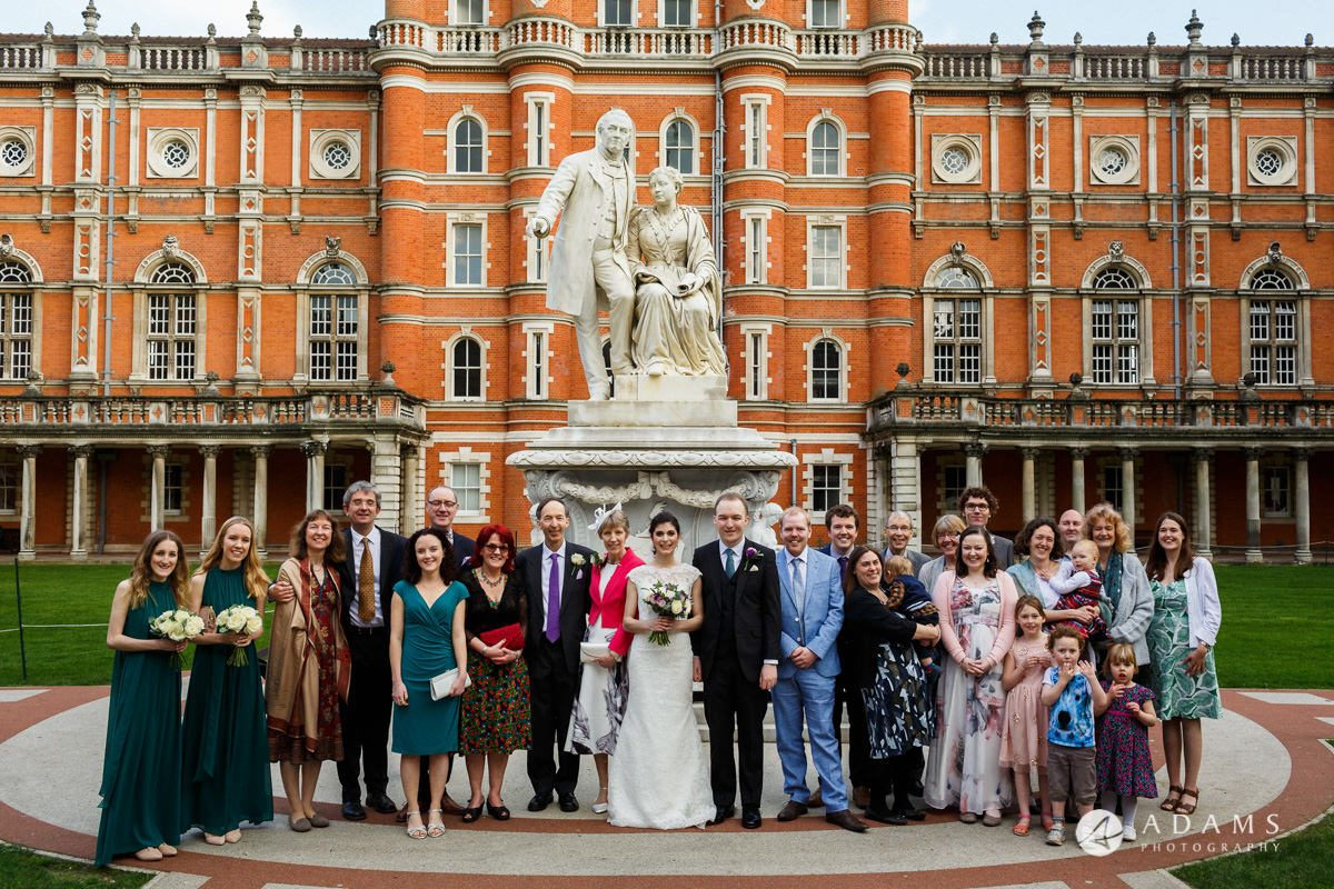 royal holloway wedding extended family group photo