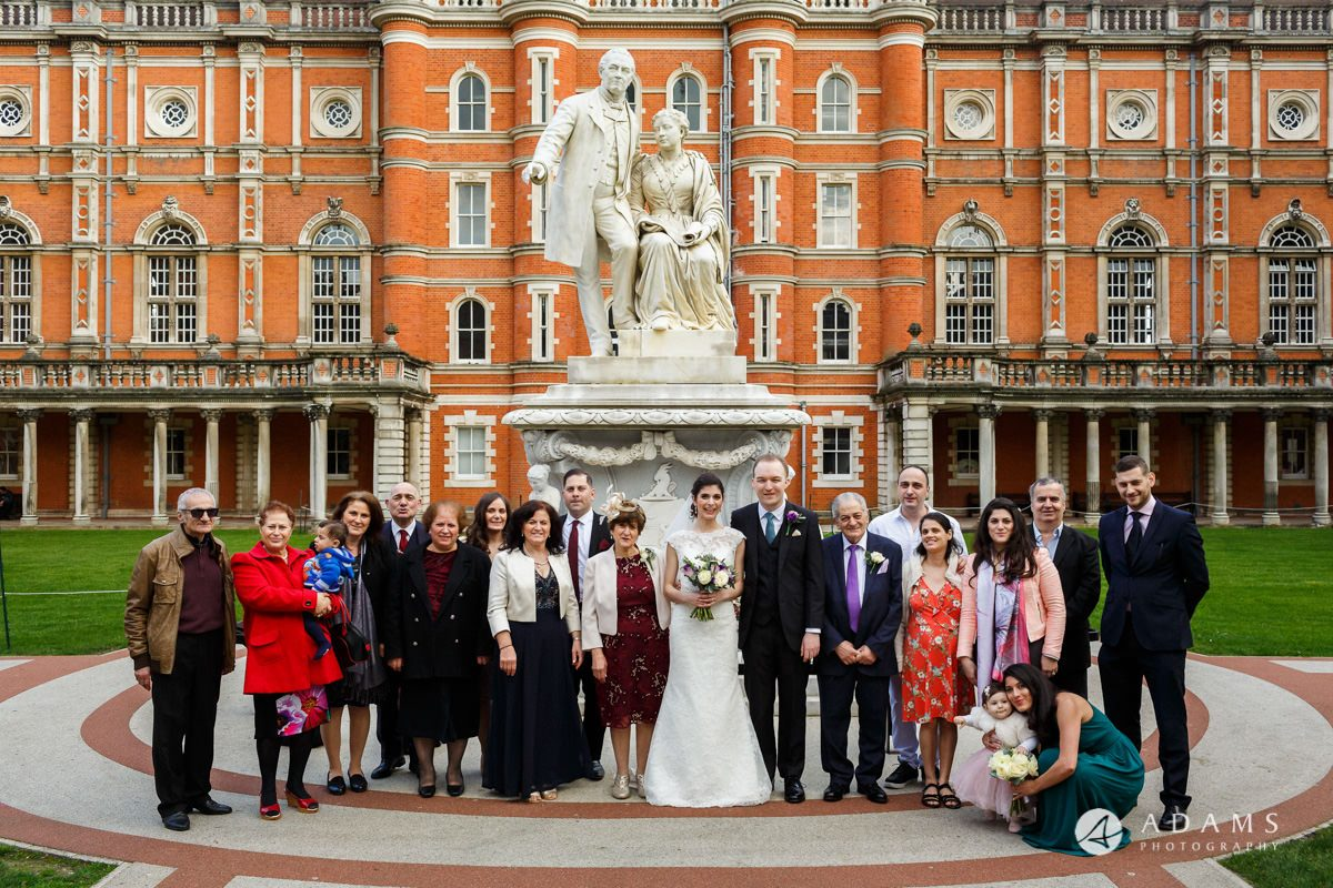 royal holloway wedding group photo of both families