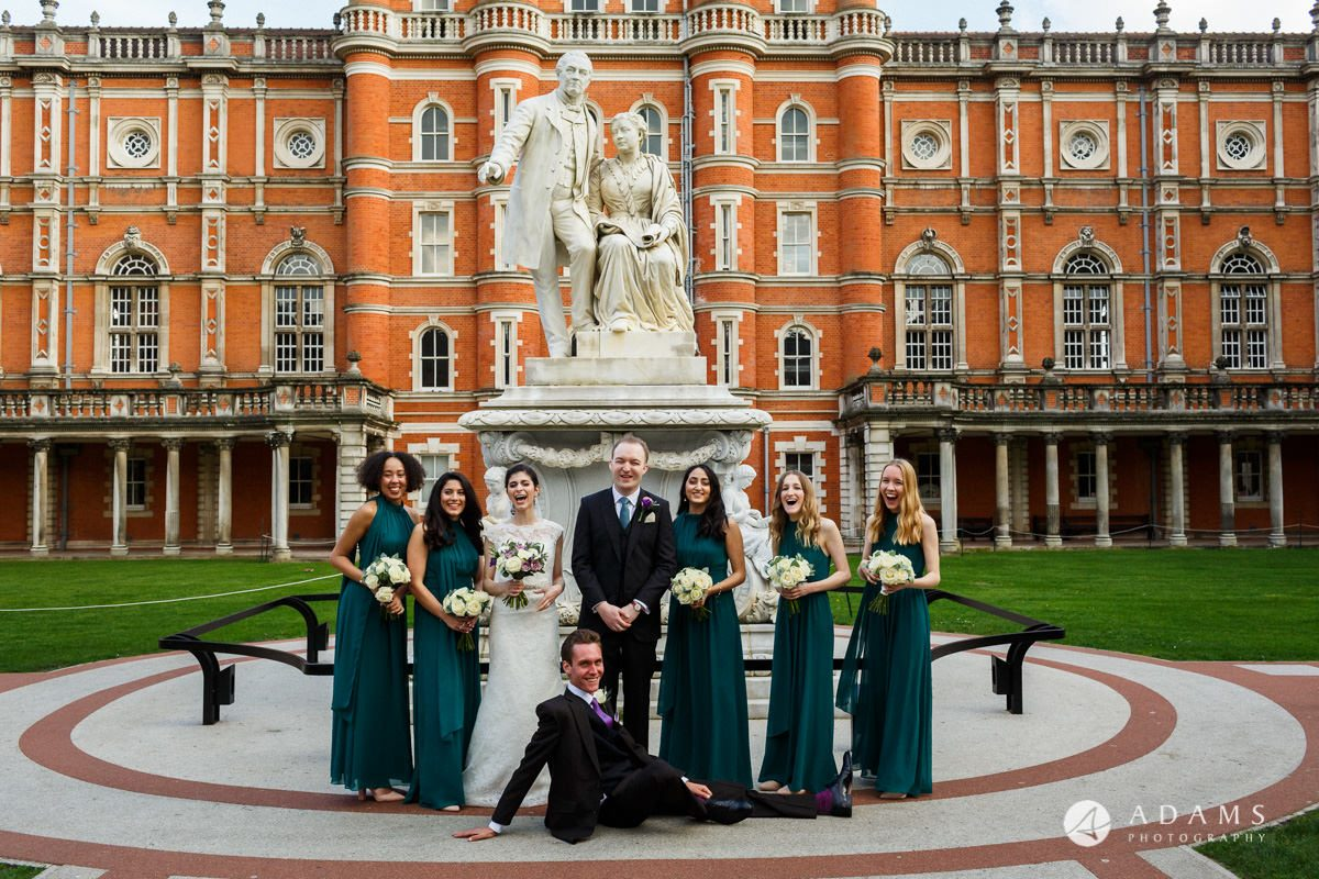 royal holloway wedding bridal party with the bestman photo