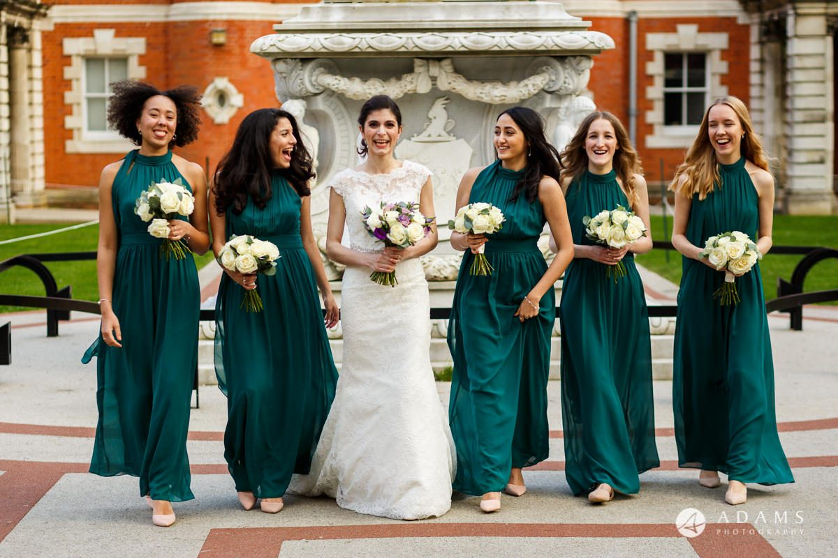 royal holloway wedding bridesmaids walking
