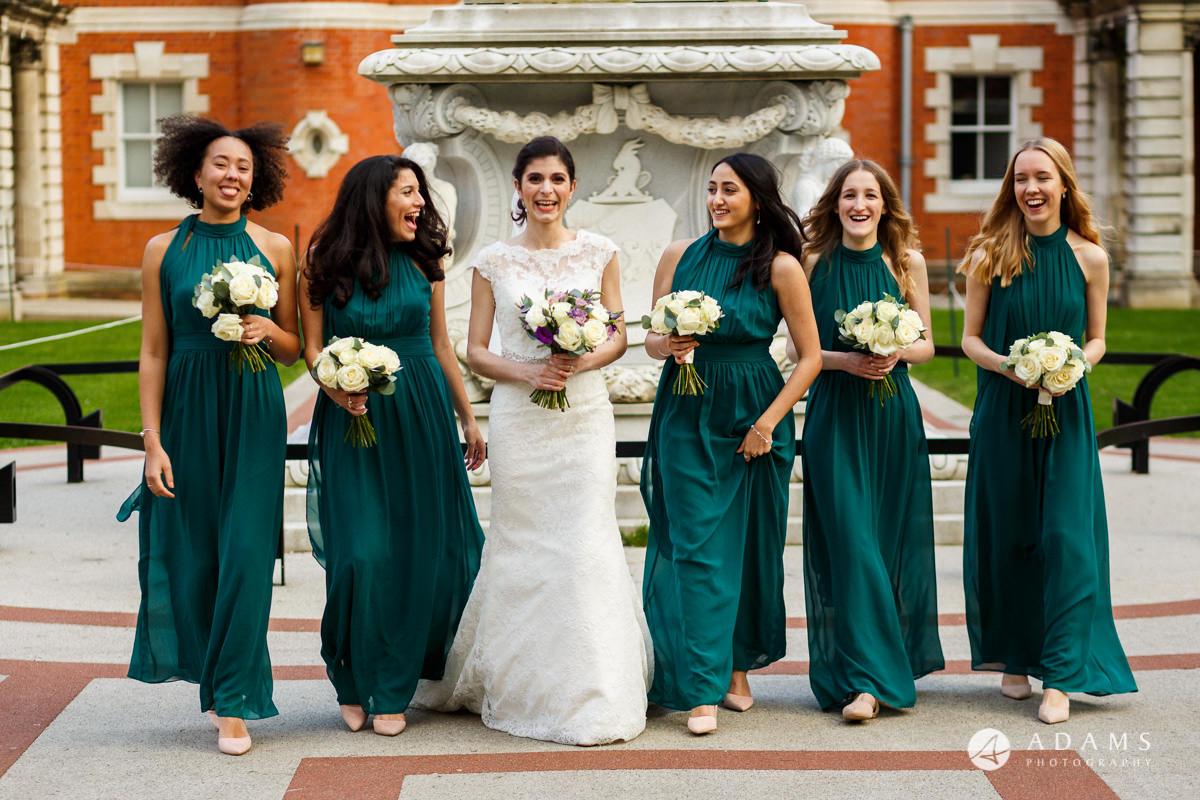 royal holloway wedding bridesmaids walking