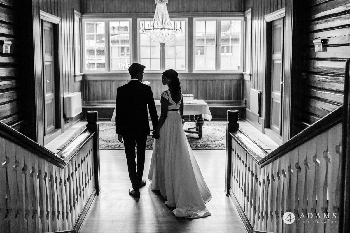 Norway Wedding Photography married couple walking away
