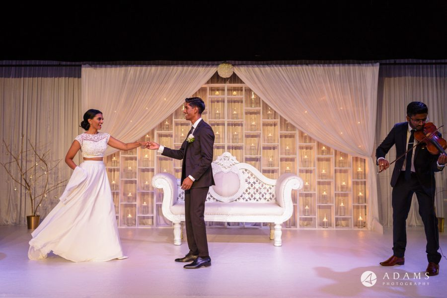 Norway Tamil Wedding bride and groom on the stage
