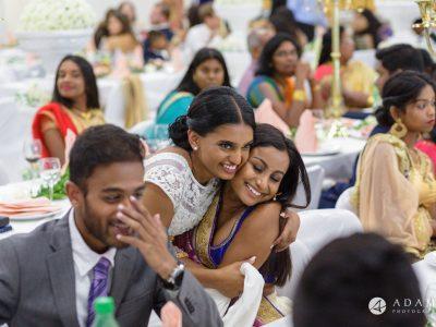 Norway Tamil Wedding bride hugs the guest