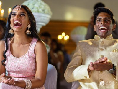 Oslo Tamil Wedding bride and groom laughing