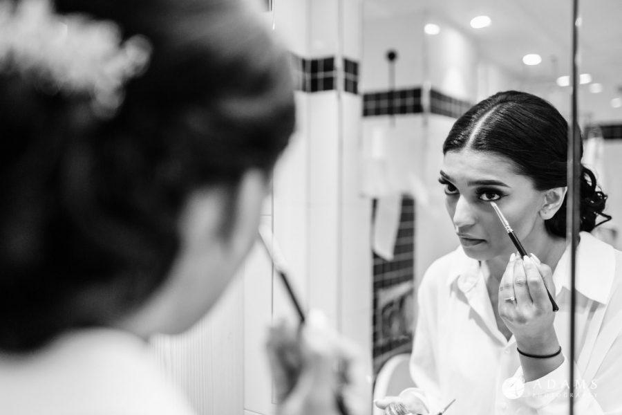 Oslo Wedding Photos Norway bride finishing her make up