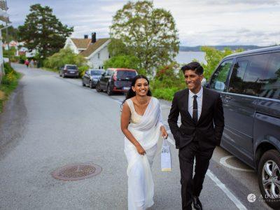 Engagement Photos near Oslo, Norway couple walking