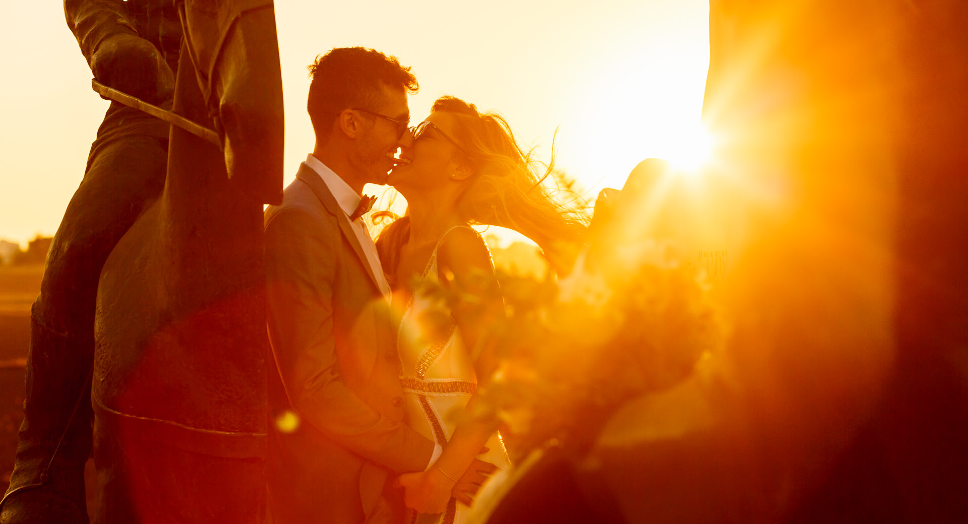 sunset couple shoot at London wedding