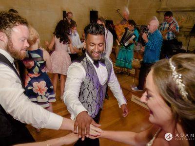 st donats castle wedding couple dancing the ceilidh dance