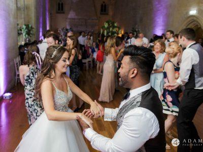 st donats castle wedding couple dancing the ceilidh dance together