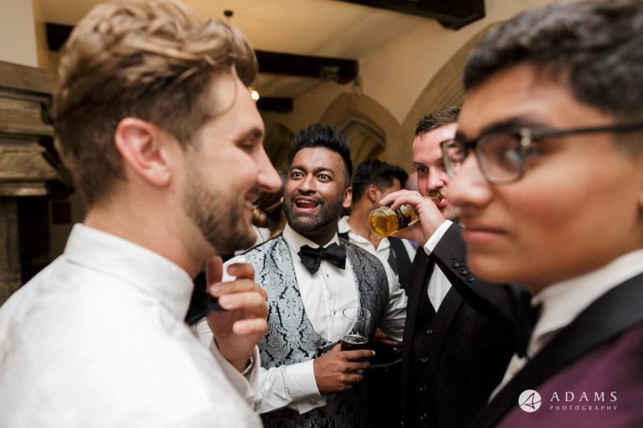 st donats castle wedding groom is having his drink