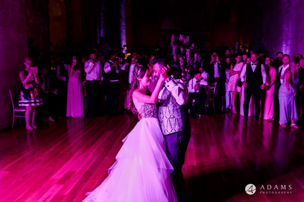 st donats castle wedding first dance view of the whole room