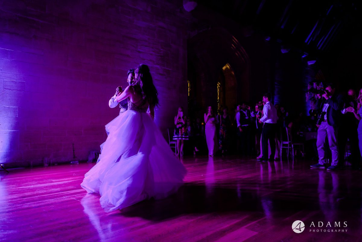 st donats castle wedding first dance wide shot