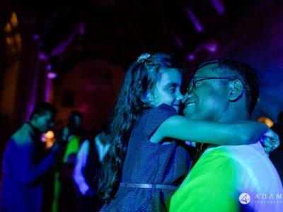 st donats castle wedding guest hug each other
