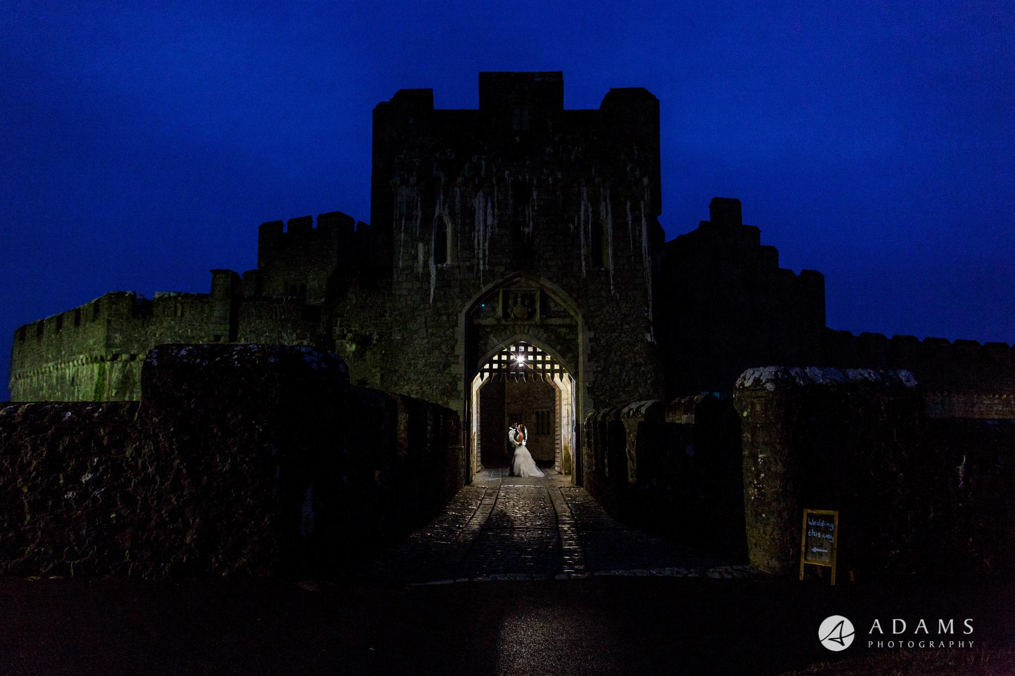 st donats castle wedding blue hour couple shot