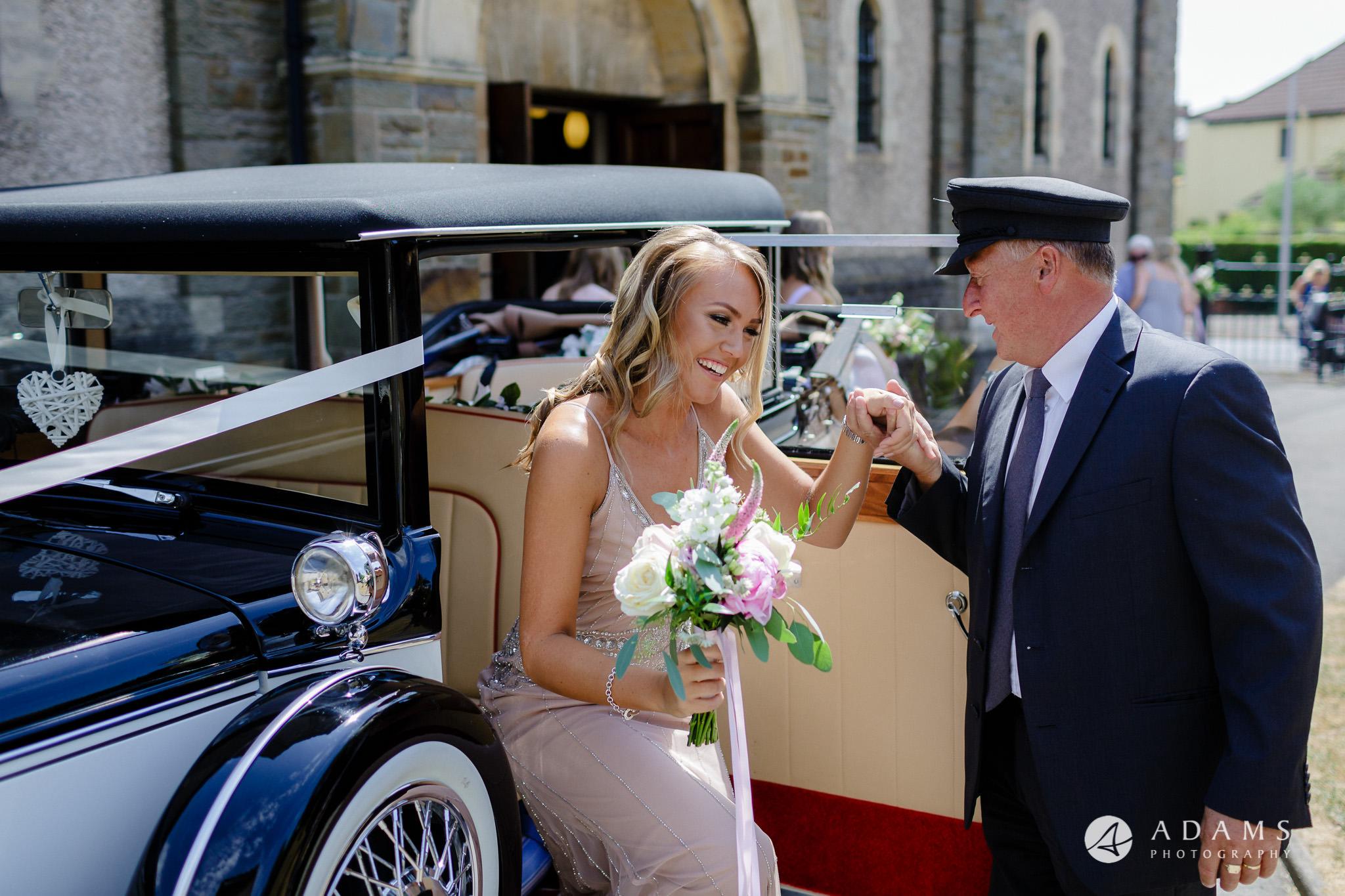 st donats castle wedding bridesmaids arrival