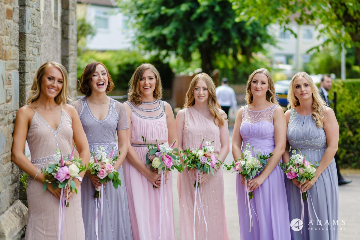 st donats castle wedding bridesmaids portrait