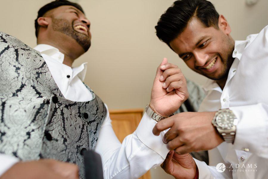st donats castle wedding groom getting ready