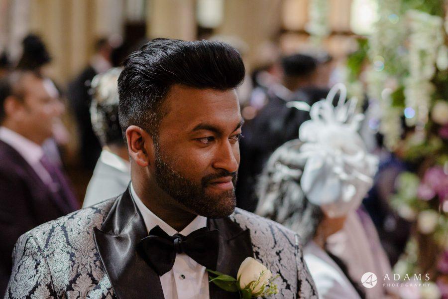 st donats castle wedding grooms close up