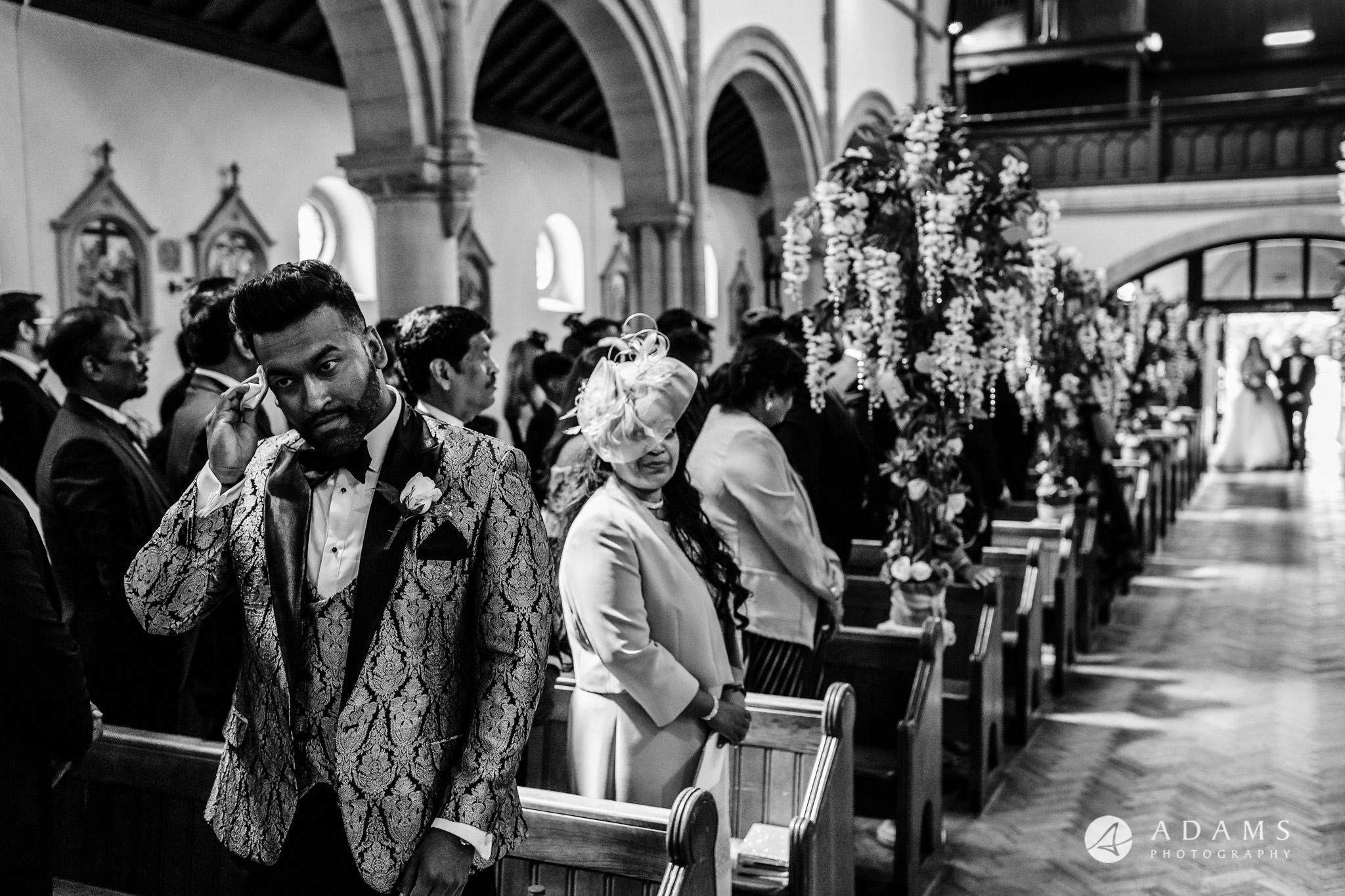 st donats castle wedding grooms sweating
