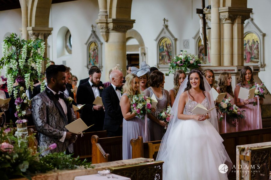 st donats castle wedding bride and groom looking at each other