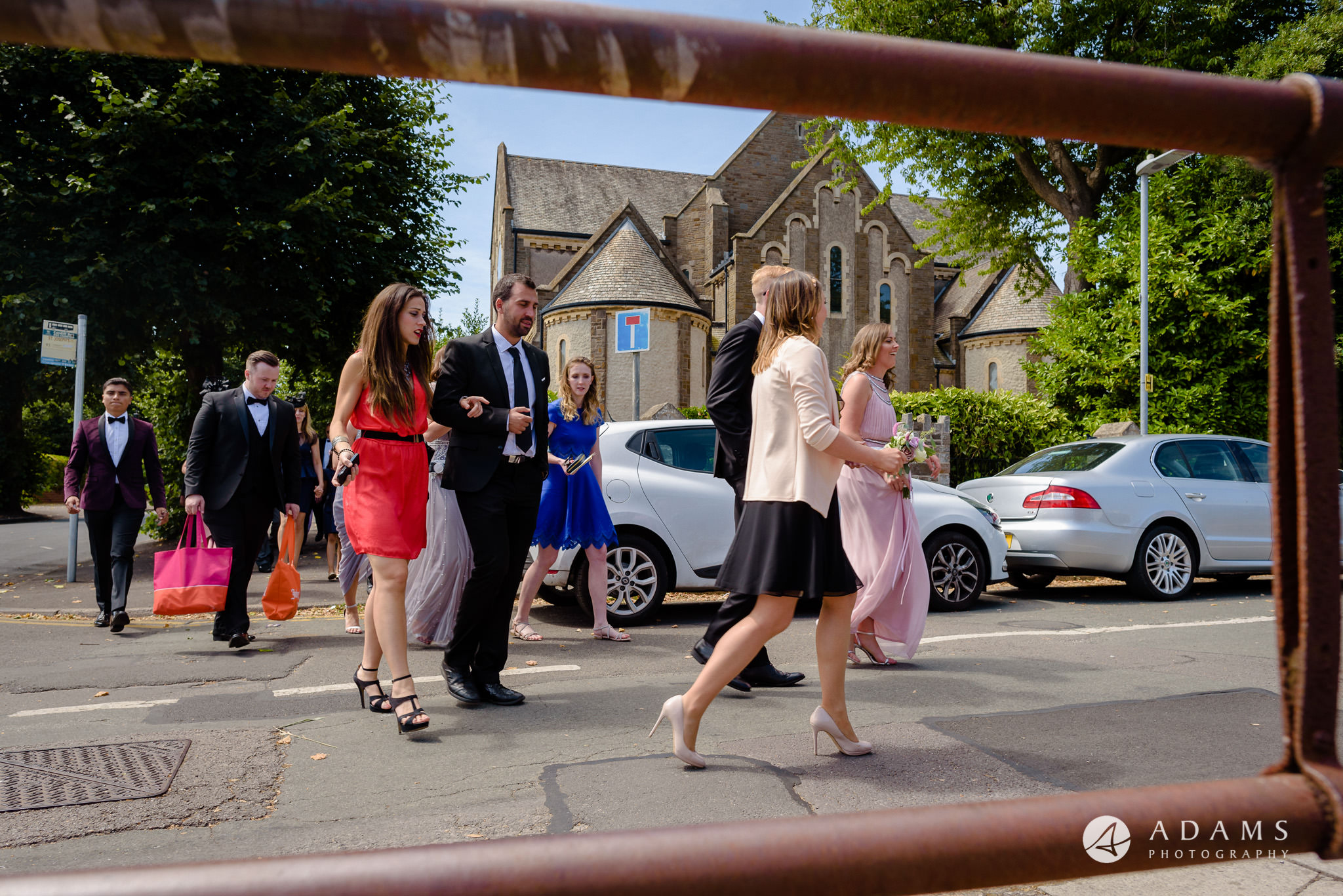 st donats castle wedding guests are walking to the bus