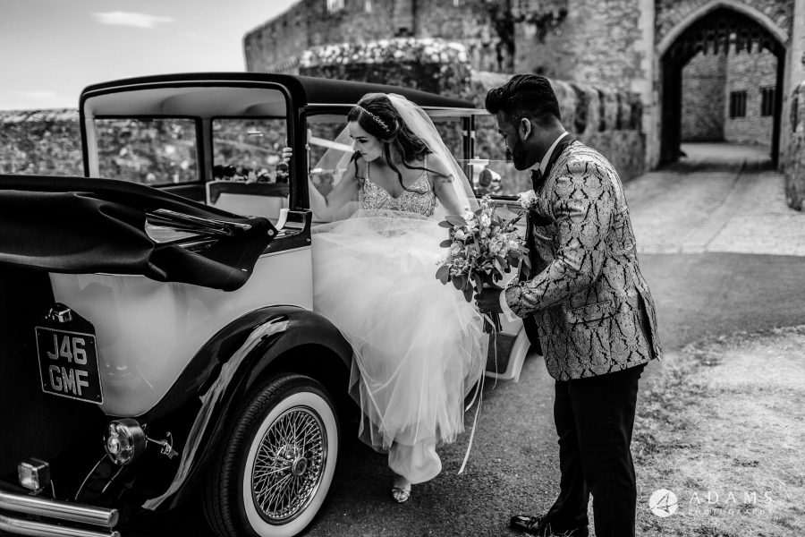 st donats castle wedding bride is getting of the car