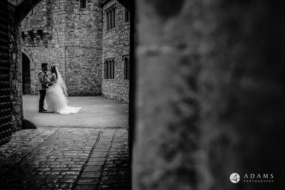 st donats castle wedding couple shot