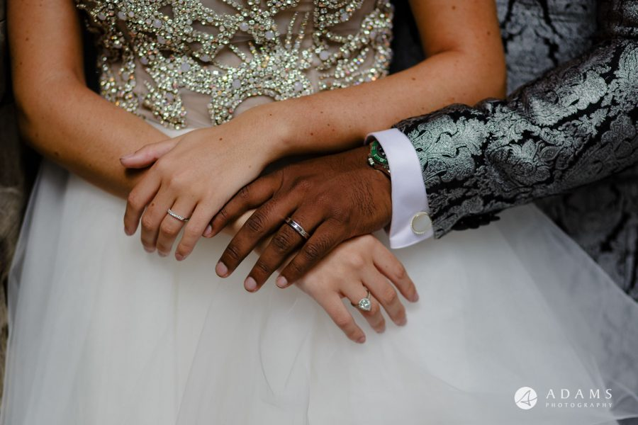 st donats castle wedding bride and grooms hold hands