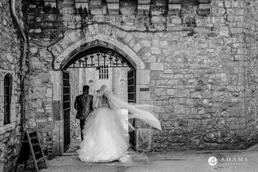 st donats castle wedding the newly weds walk into the venue