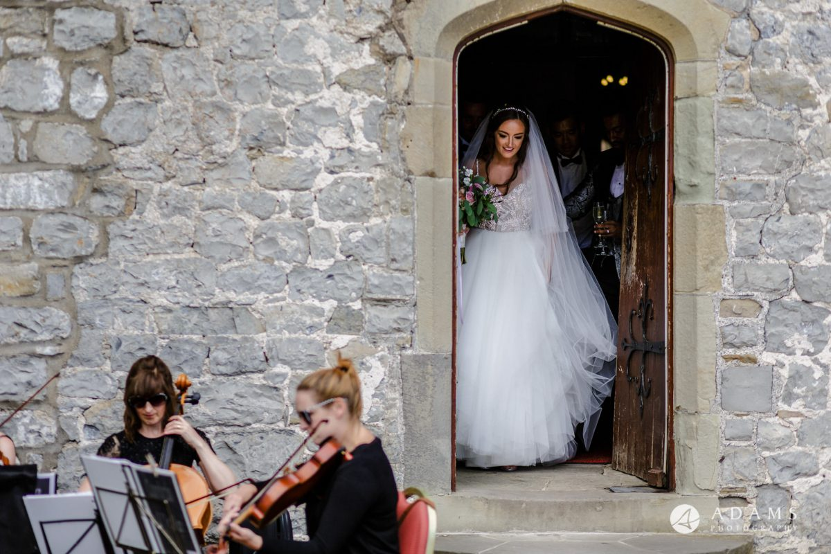 st donats castle wedding bride exits by the door