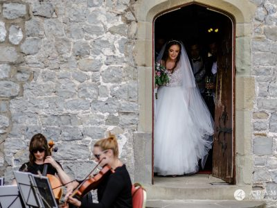 st donats castle wedding bride exits by the door