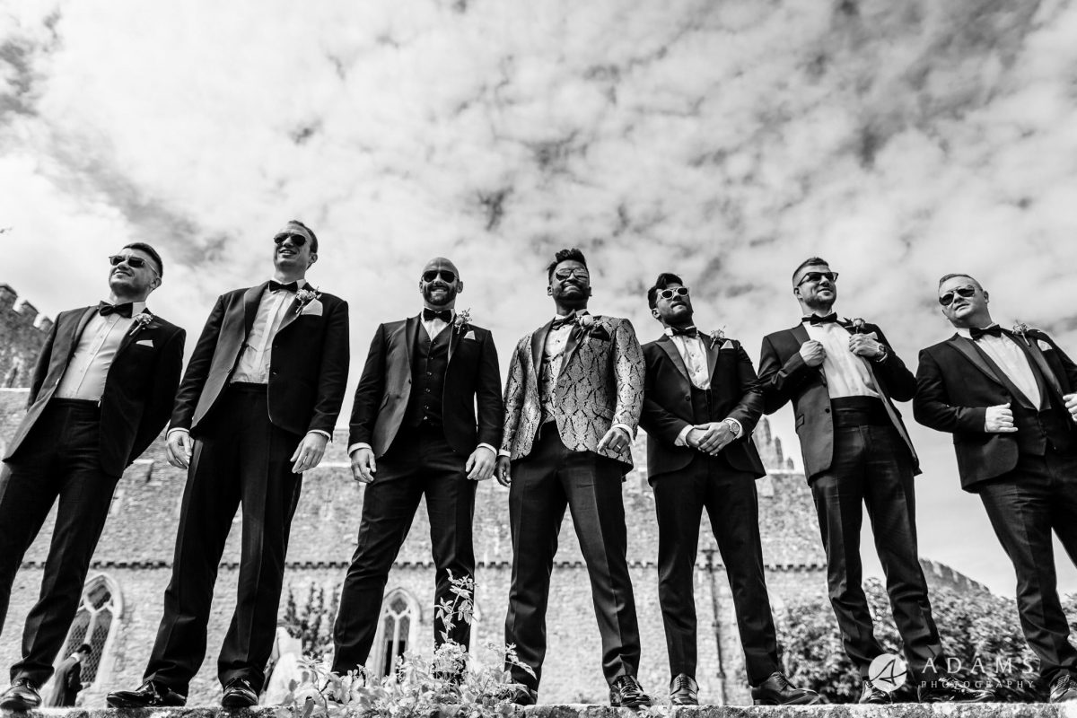 st donats castle wedding groomsmen shot