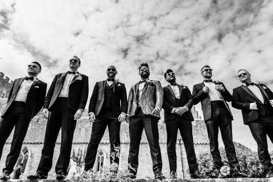 st donats castle wedding groomsmen shot
