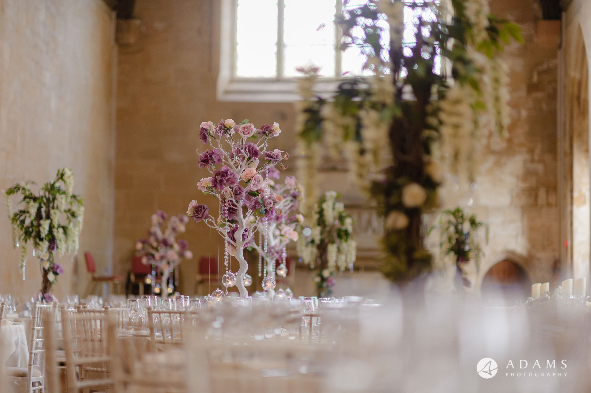 st donats castle wedding table details of flowers