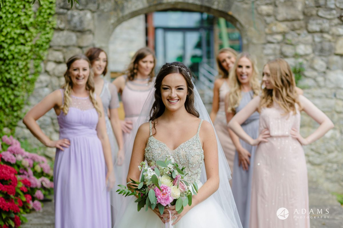 st donats castle wedding bride and bridesmaids portrait