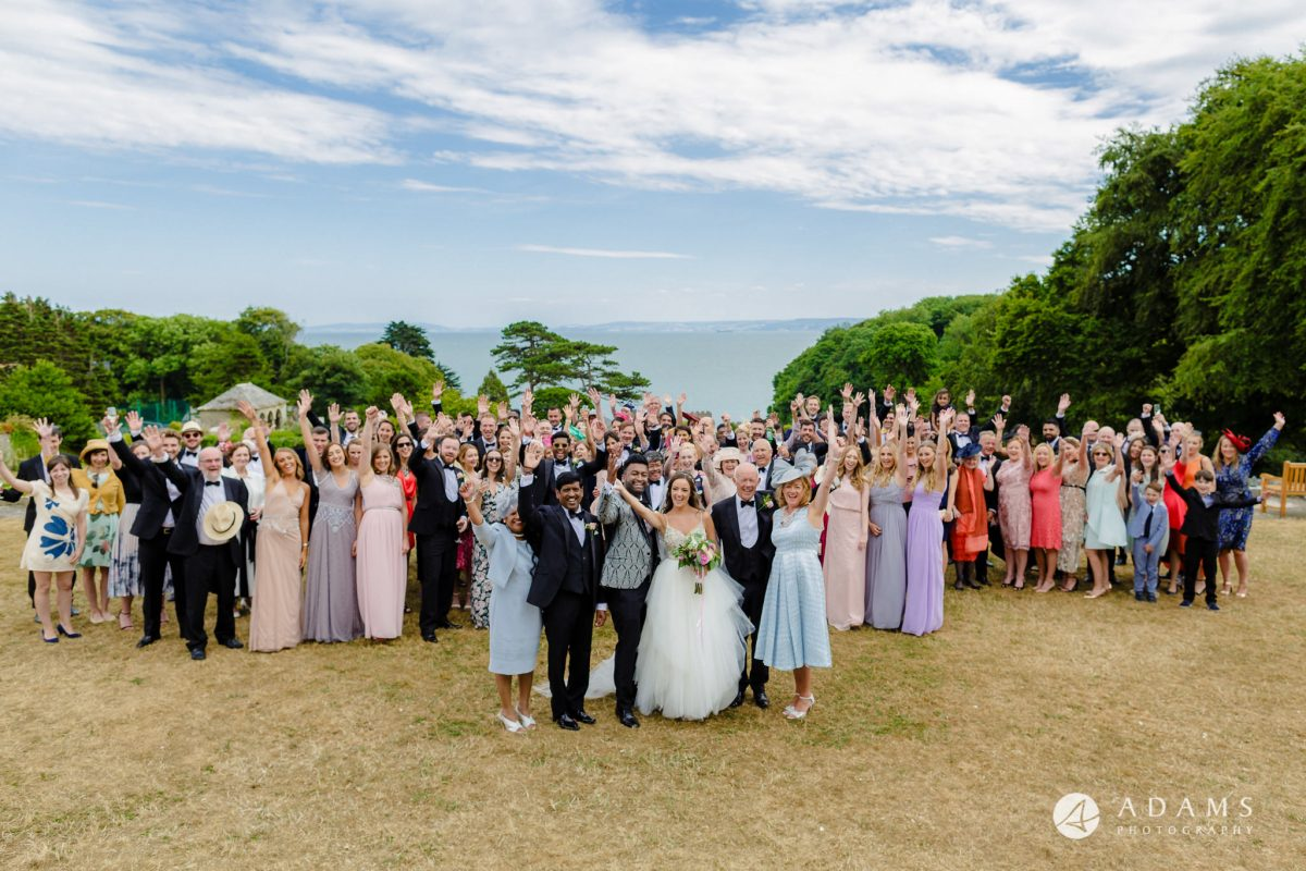 st donats castle wedding big group photo